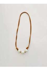 Samira  Pearl Leather Necklace Tan with Triple Australian Pearls - Product Mini Image