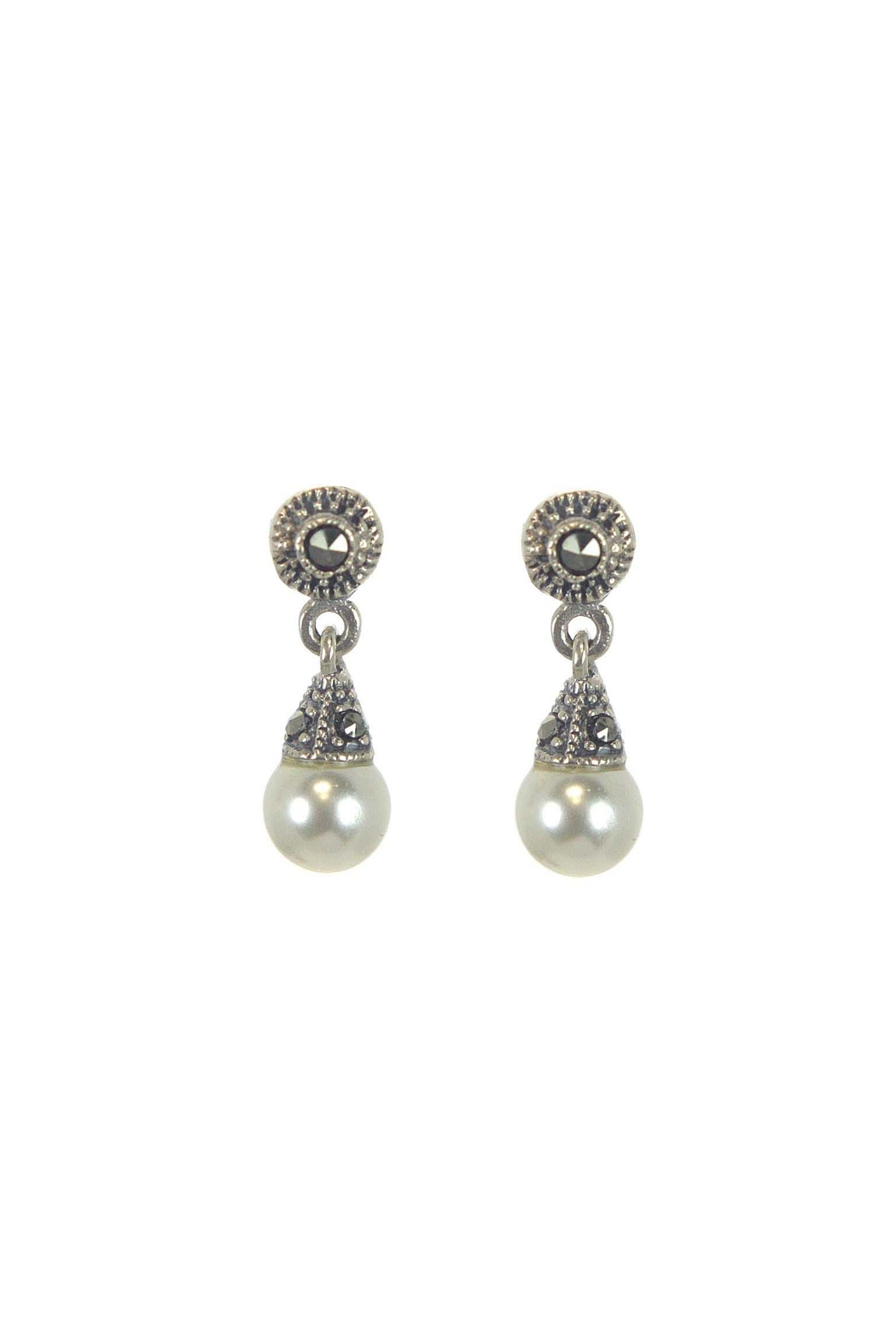 Diane S Accessories Pearl Marcasite Earrings Front Cropped Image