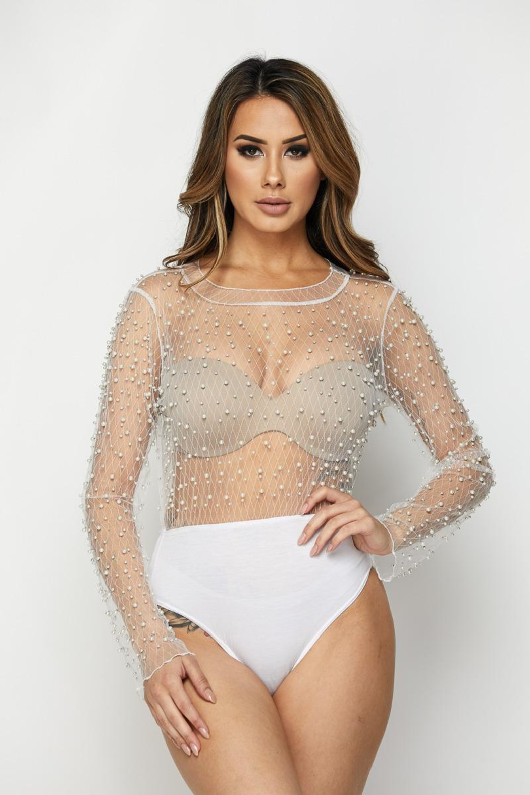 hot and delicious Pearl Mesh Bodysuit from New York by Dor L Dor ... 4cec407cc