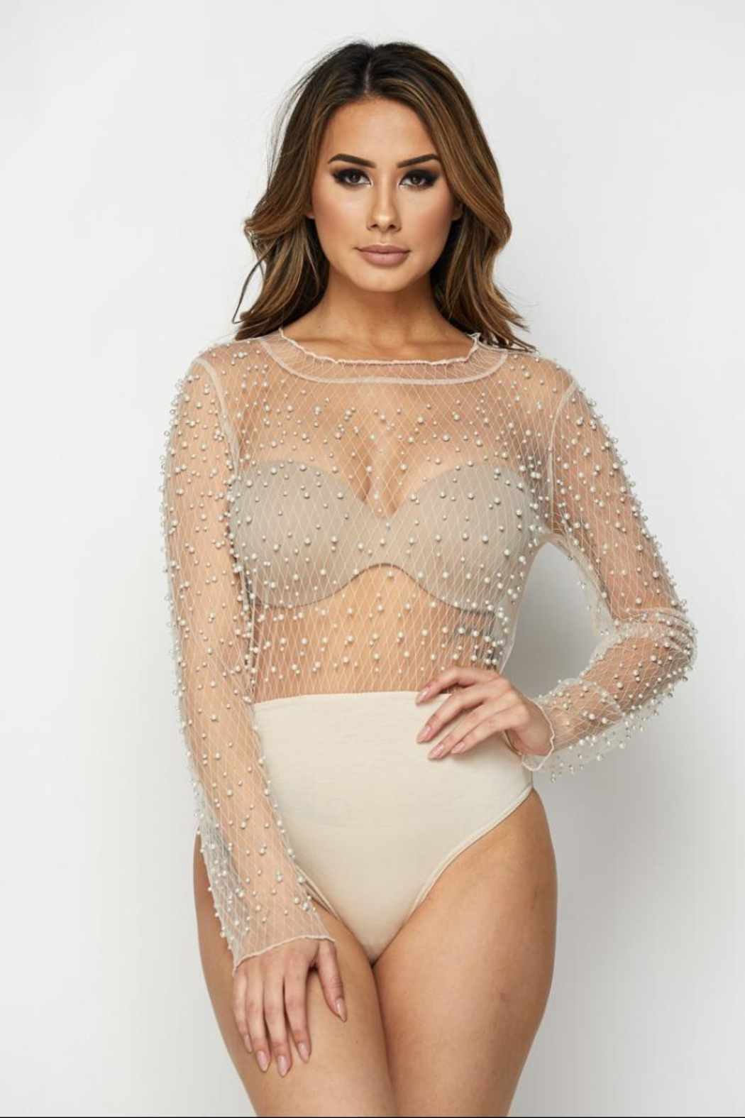 0e2e7e5aed2127 Hot   Delicious Pearl Mesh Bodysuit from Los Angeles by Chikas ...