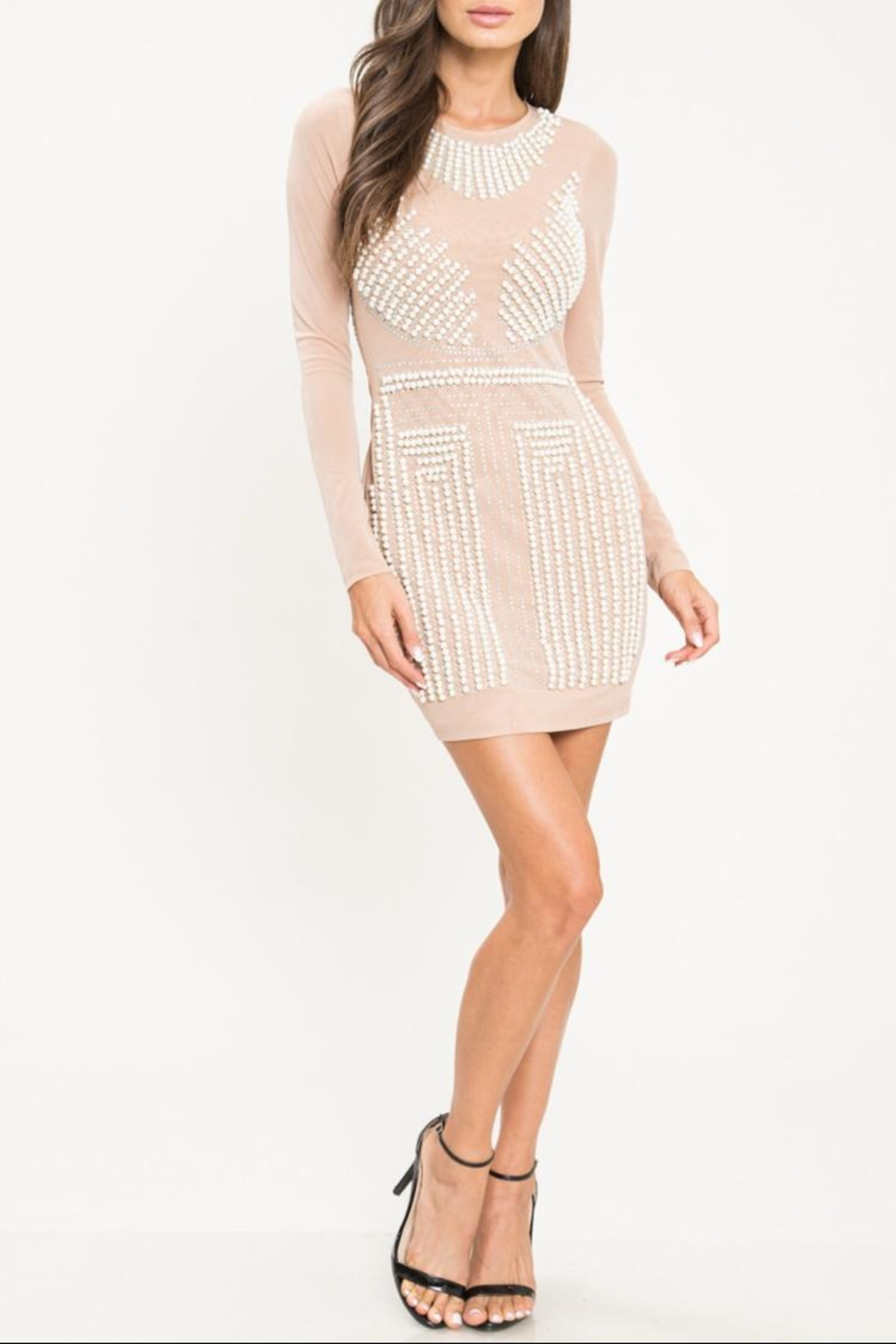 Latiste Pearl Mesh Dress - Front Cropped Image