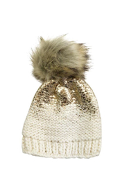 The Blueberry Hill Pearl Metallic Hat With Fur Pom Pom - Front cropped