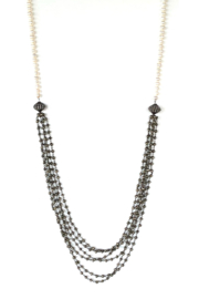 LuLuLisa Pearl & Multi Chain Necklace - Front cropped