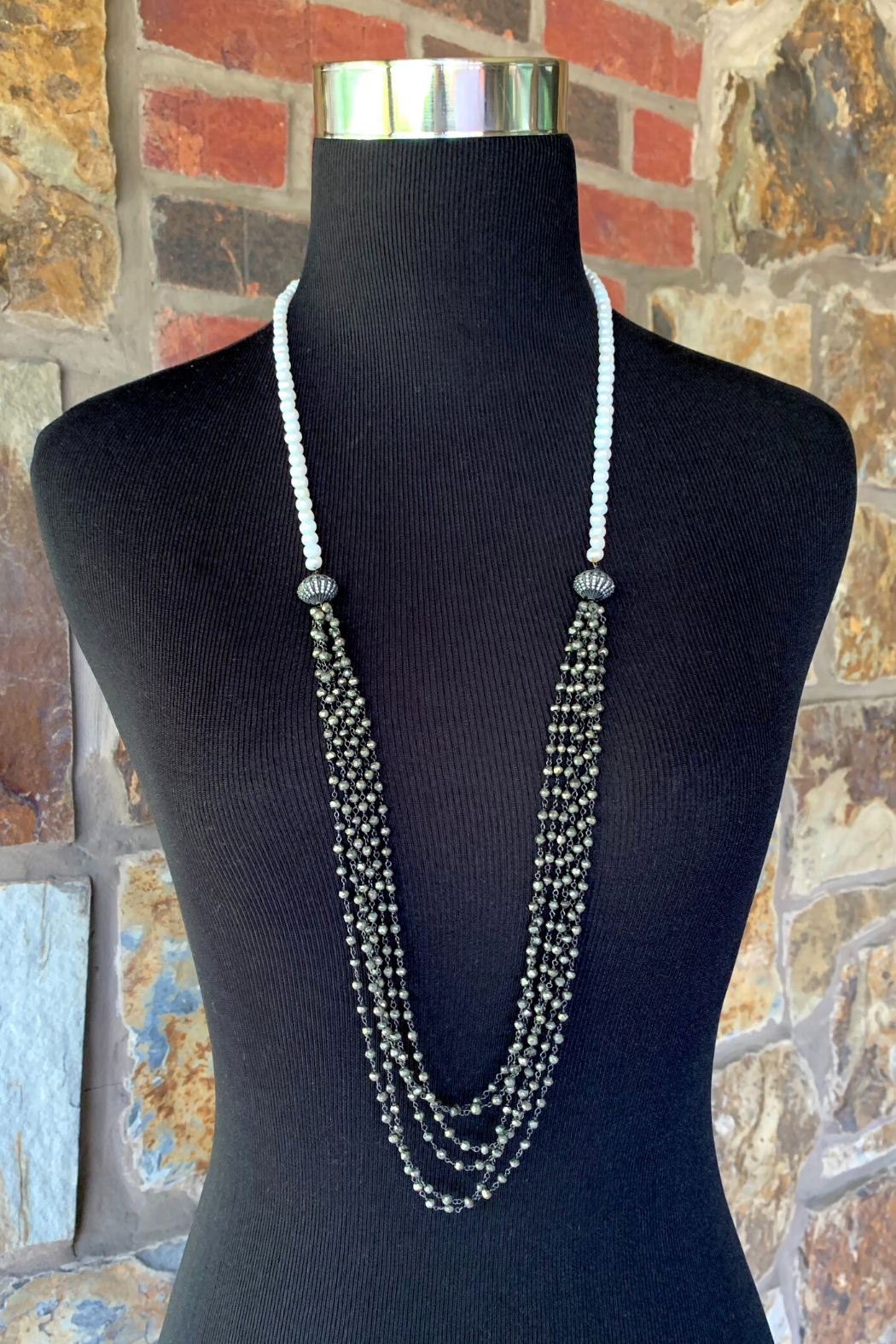 LuLuLisa Pearl & Multi Chain Necklace - Front Full Image