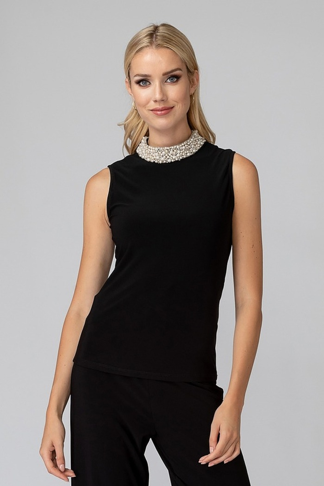 Joseph Ribkoff Pearl Neck Top - Front Cropped Image