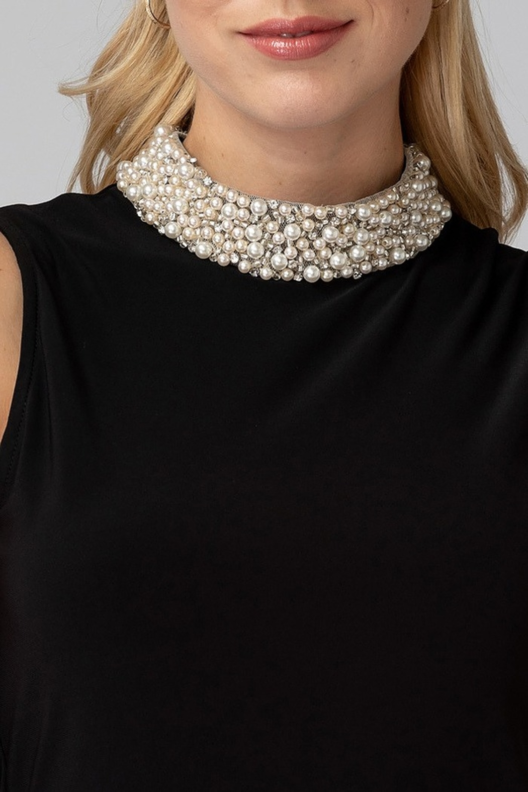 Joseph Ribkoff Pearl Neck Top - Side Cropped Image