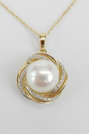 Margolin & Co Pearl Pendant, Gold Pearl Necklace, 14K Yellow Gold Diamond and Pearl Swirl Pendant Necklace with Chain 18