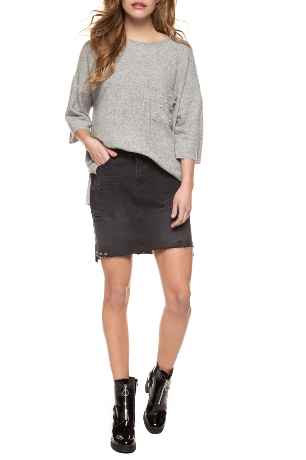 Dex Pearl Pocket 1/2 Sleeve Sweater - Front Cropped Image