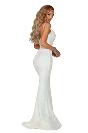 PORTIA AND SCARLETT Pearl Sequin Fit & Flare Long Formal Dress - Front full body