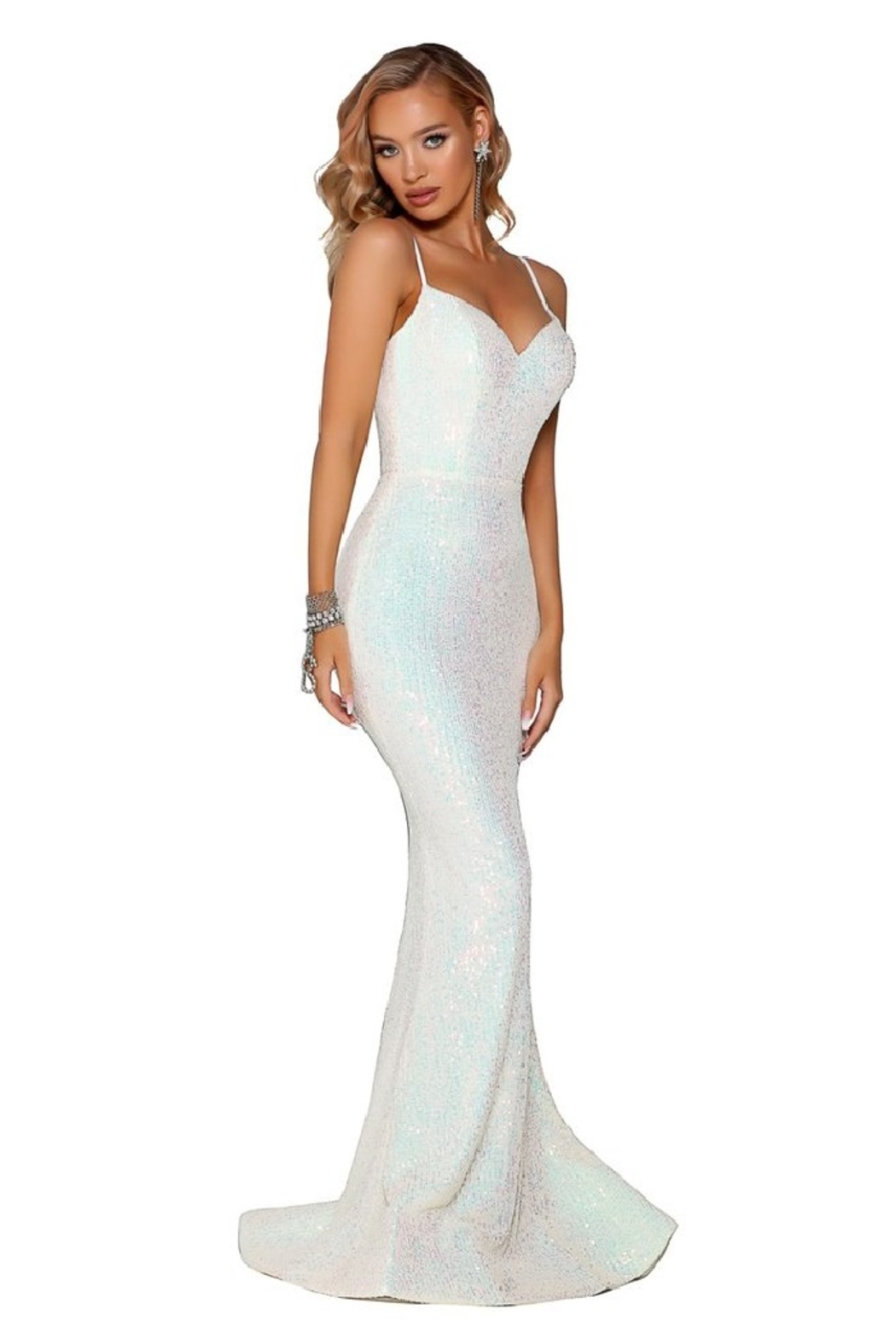 PORTIA AND SCARLETT Pearl Sequin Fit & Flare Long Formal Dress - Side Cropped Image