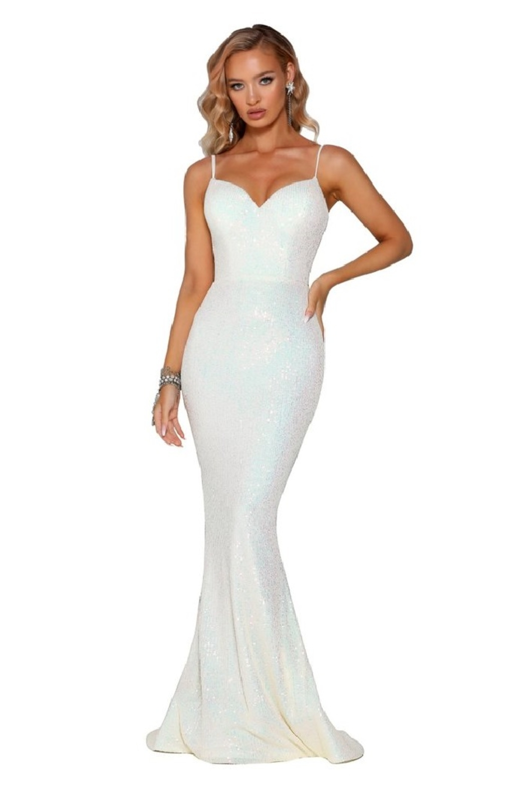 PORTIA AND SCARLETT Pearl Sequin Fit & Flare Long Formal Dress - Main Image