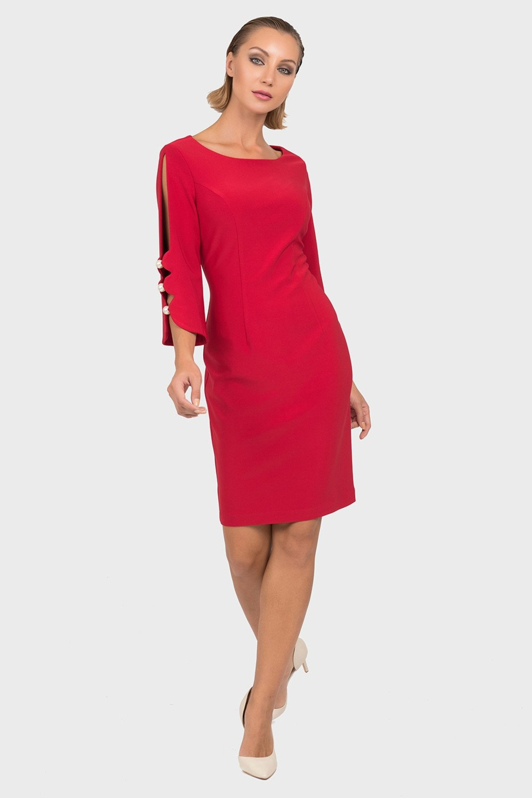 Joseph Ribkoff  Pearl Sleeve Dress - Front Cropped Image