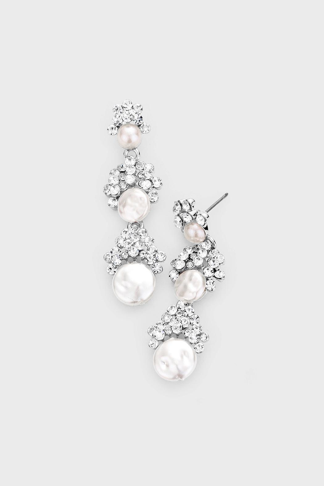 Wild Lilies Jewelry  Pearl Statement Earrings - Front Cropped Image