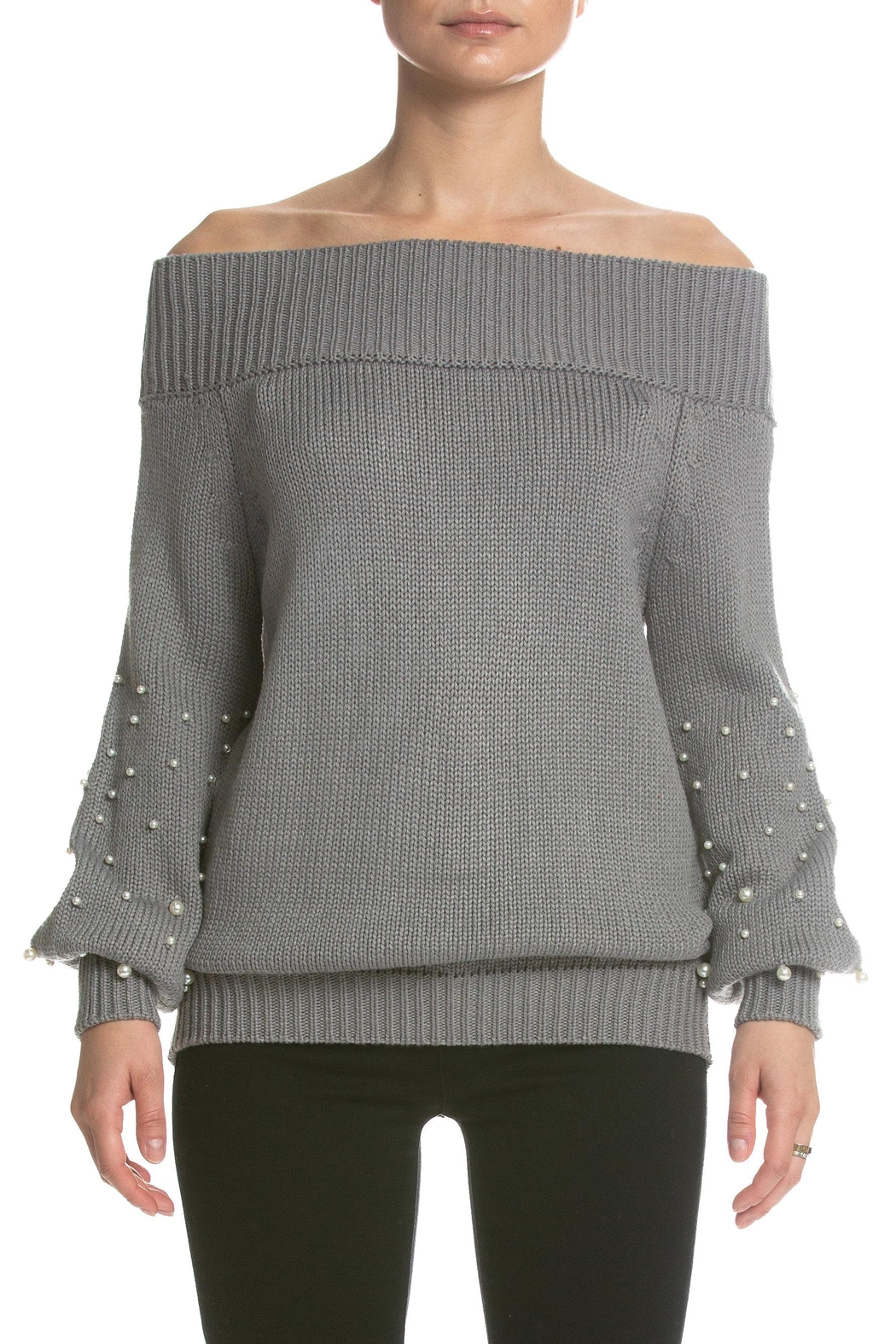 Elan Pearl Studded Sweater - Front Cropped Image