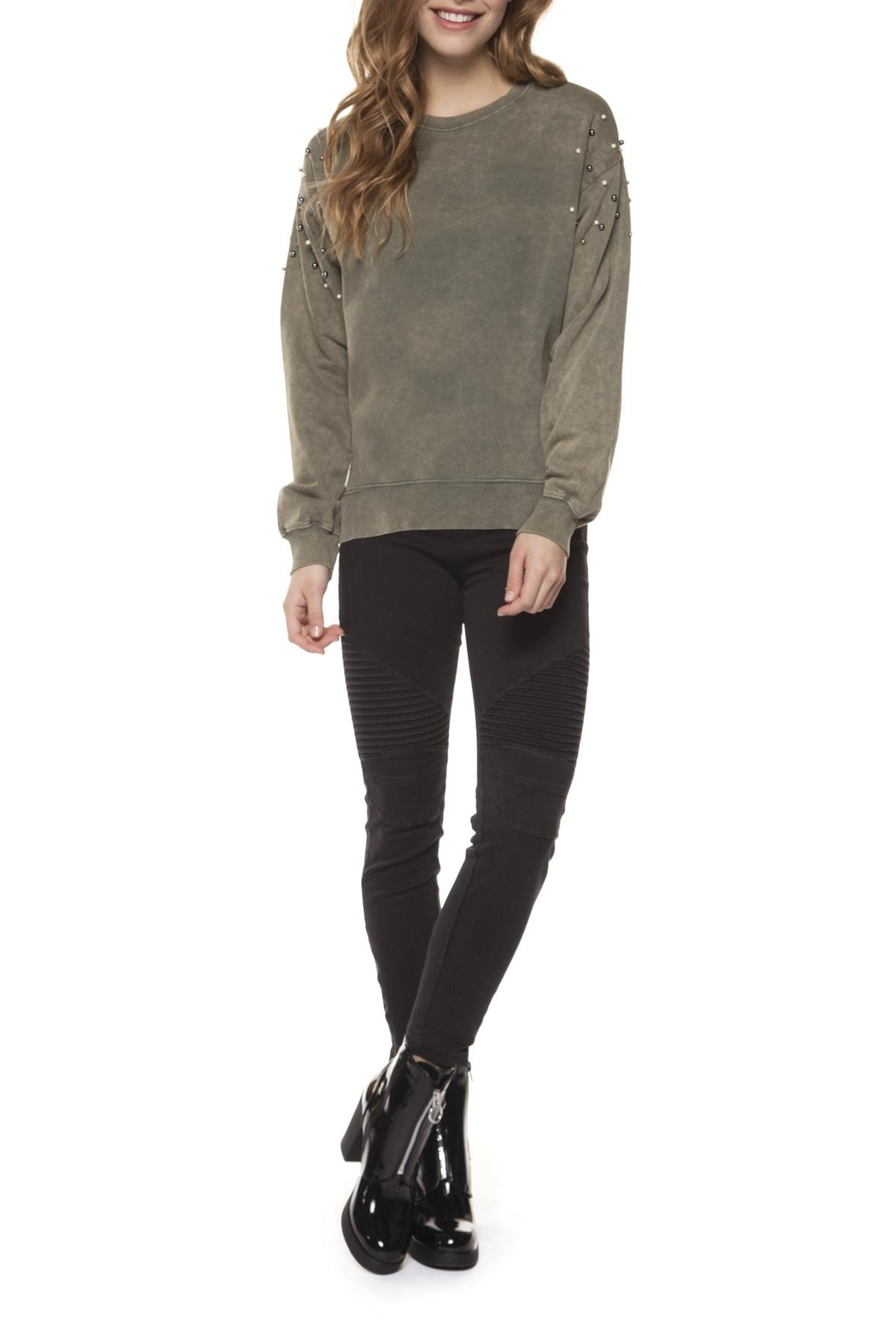 Dex Pearl Studded Sweatshirt - Front Cropped Image