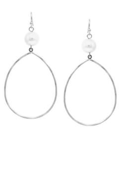 US Jewelry House Pearl Topped Teardrop Hoops - Product List Image
