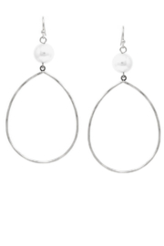 US Jewelry House Pearl Topped Teardrop Hoops - Front cropped