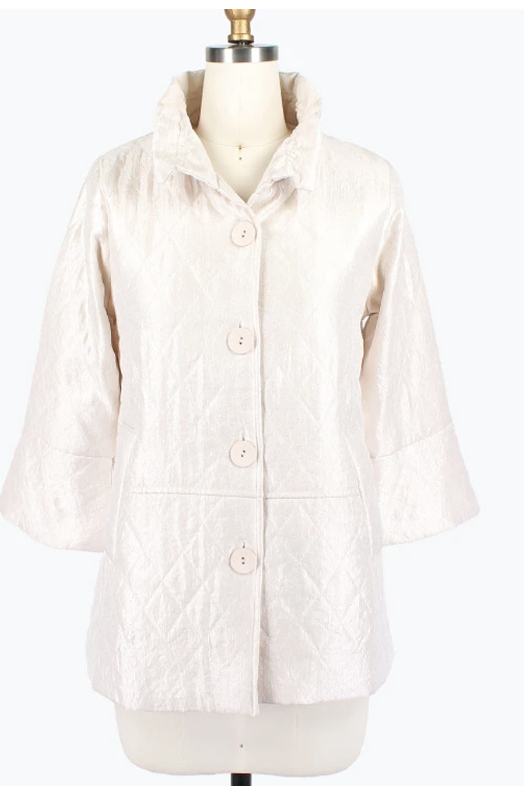 Damee Pearl White Quilted Jacket - Front Cropped Image