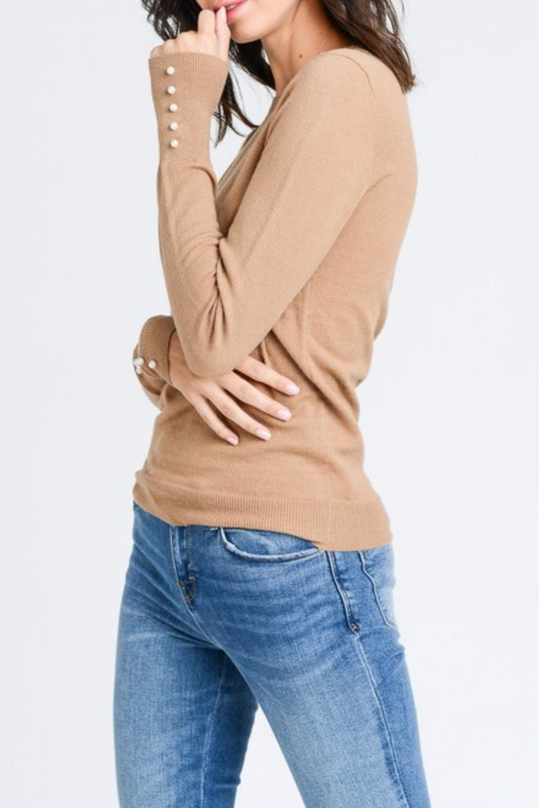 Love Tree Pearled Cuff Top - Side Cropped Image