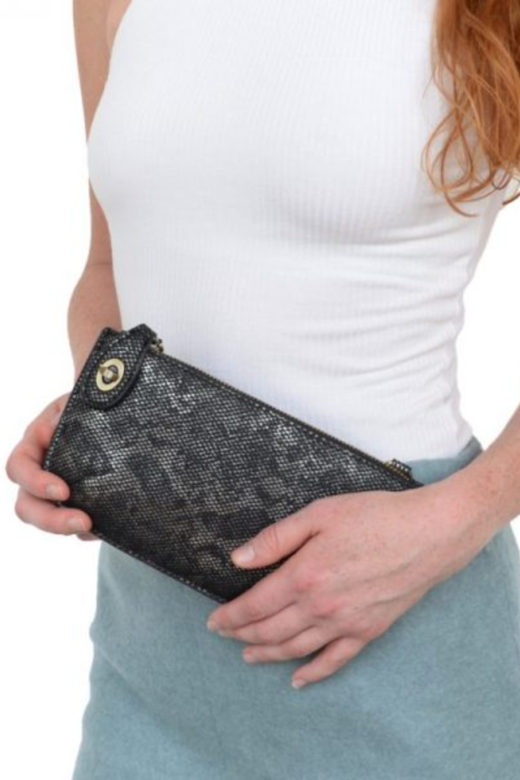 Joy Accessories Pearly Python Crossbody Wristlet Clutch - Front Cropped Image