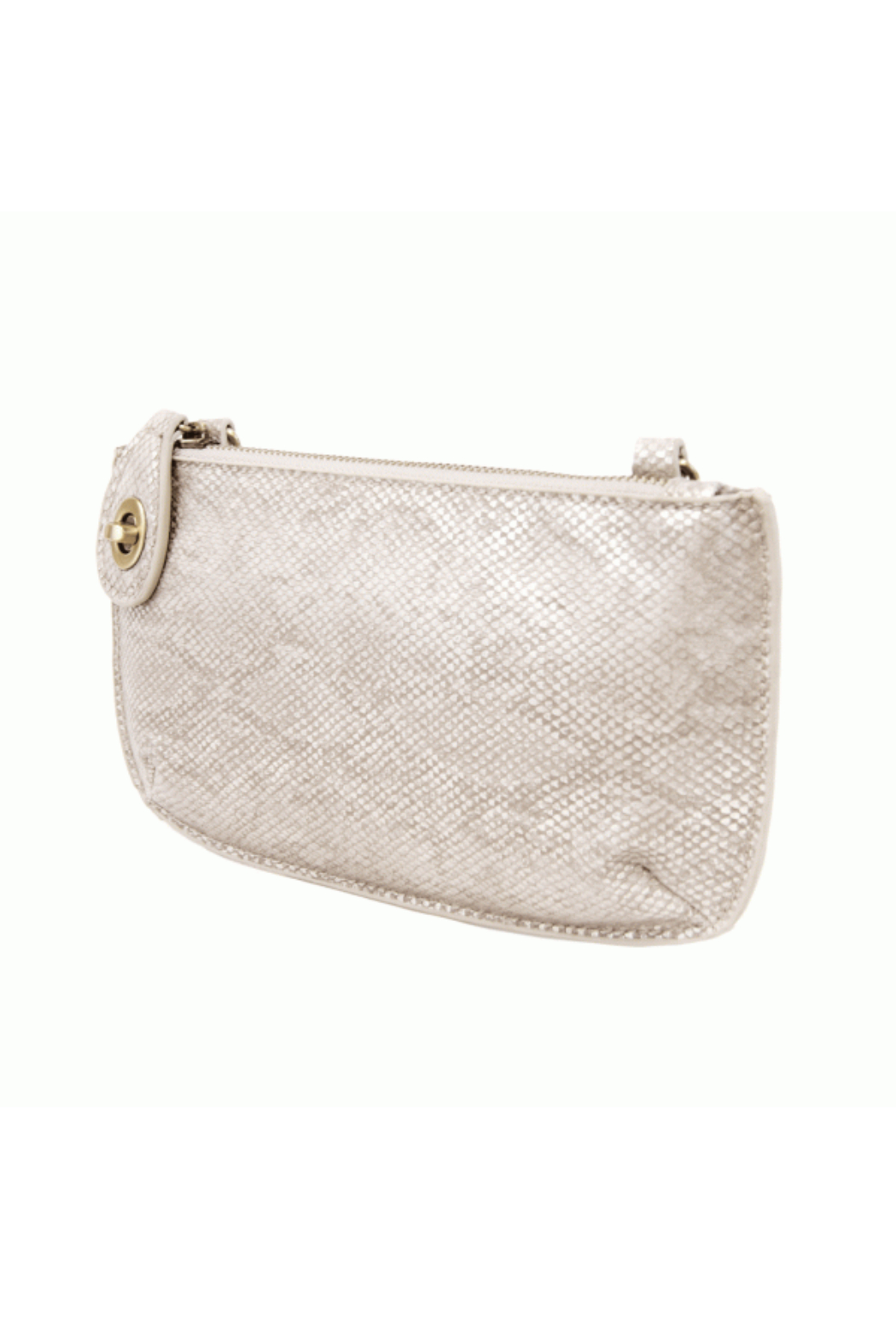 Joy Accessories Pearly Python Crossbody Wristlet Clutch - Front Full Image
