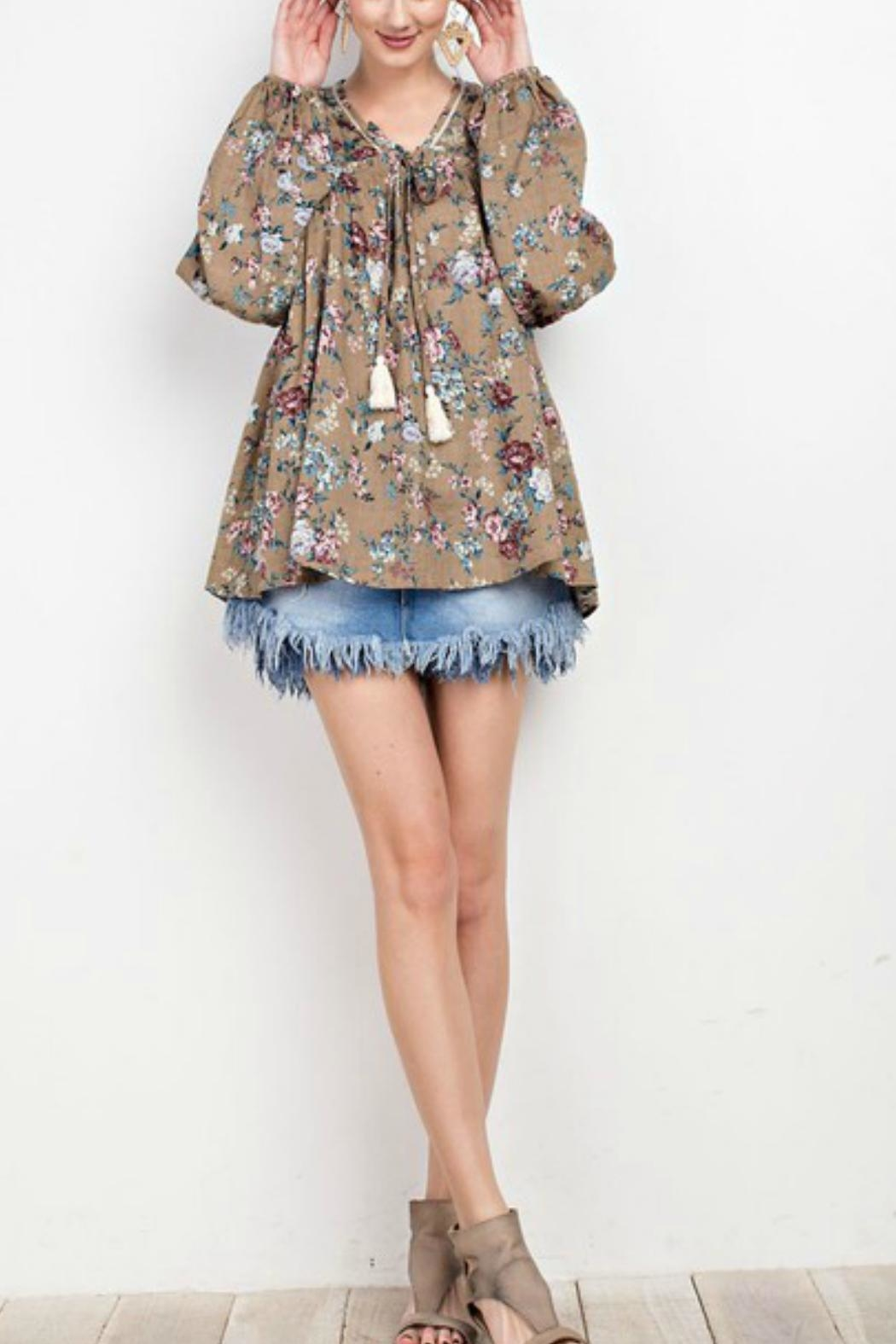 easel Peasant Floral Blouse - Front Full Image