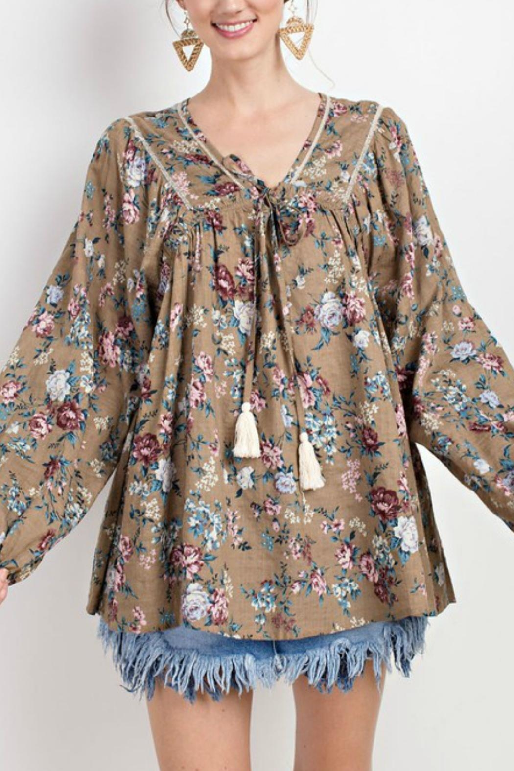easel Peasant Floral Blouse - Side Cropped Image