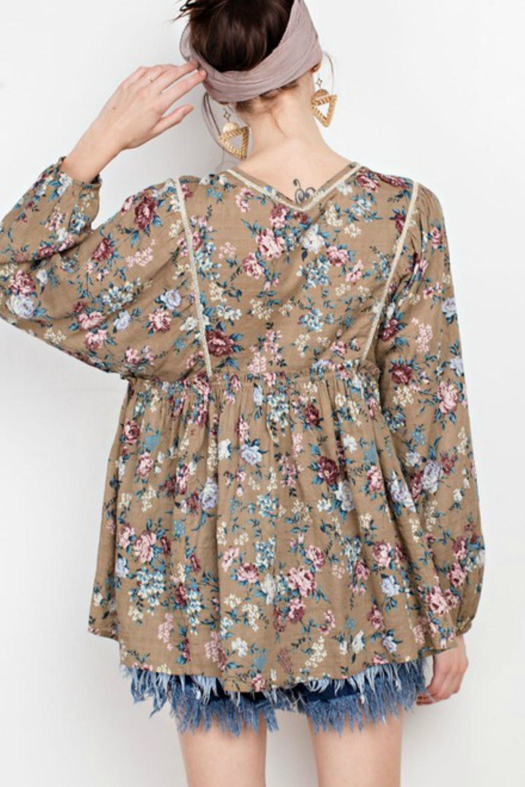easel Peasant Floral Blouse - Back Cropped Image