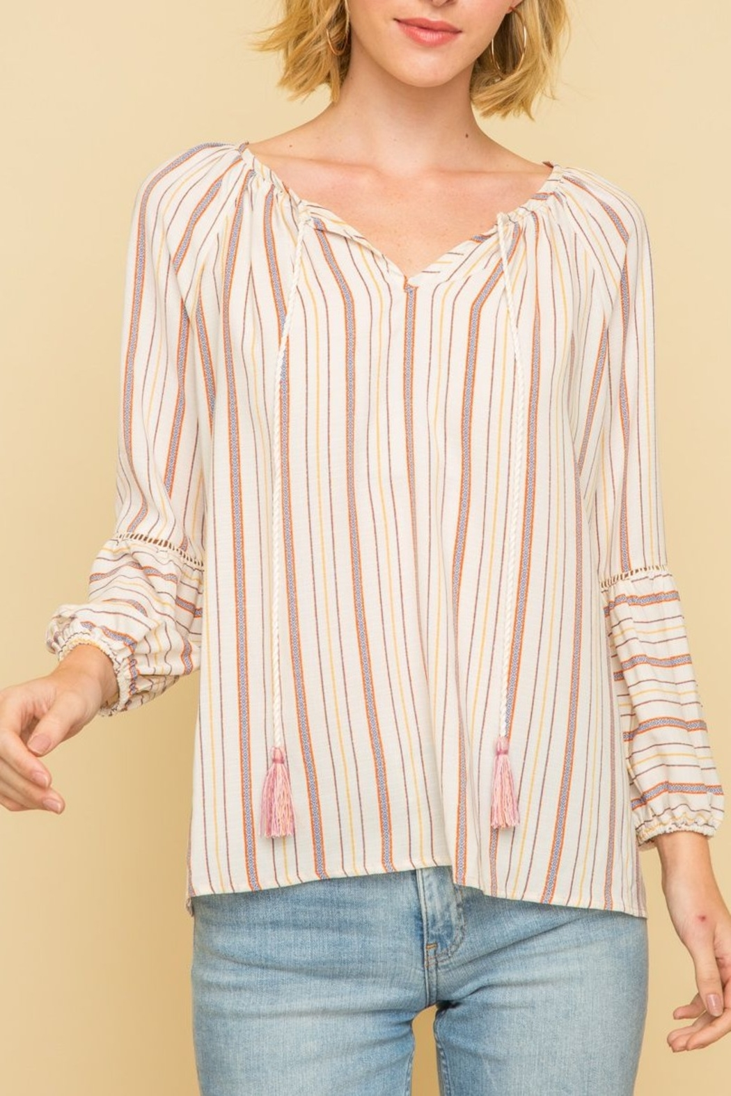 Mystree Peasant Stripe Top - Front Cropped Image