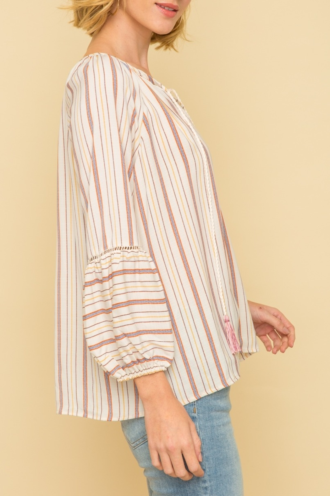 Mystree Peasant Stripe Top - Side Cropped Image
