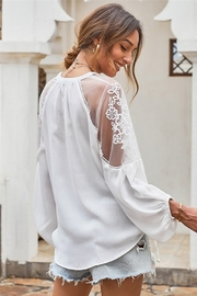 Shewin  Peasant Style Lace Blouse - Product Mini Image