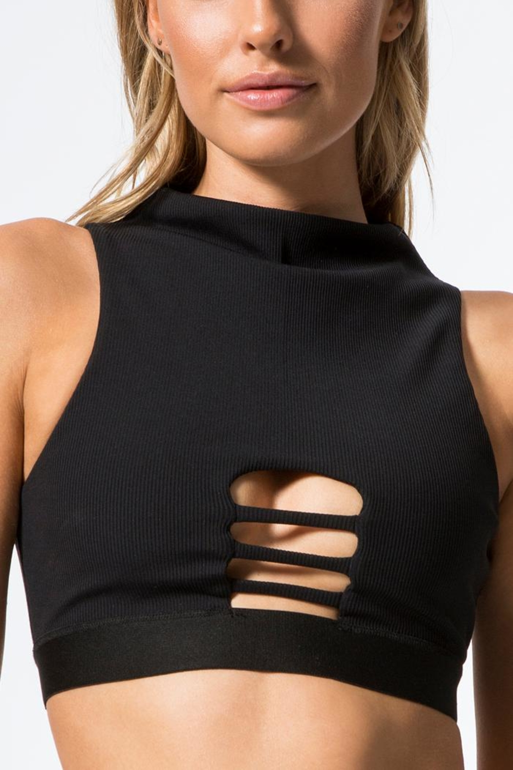 Blue Life Fit Peek-A- Boo Crop-Top/bra - Front Full Image