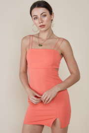 blue blush Peek-A-Boo Waist Bodycon Dress - Front cropped