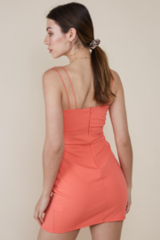 blue blush Peek-A-Boo Waist Bodycon Dress - Back cropped
