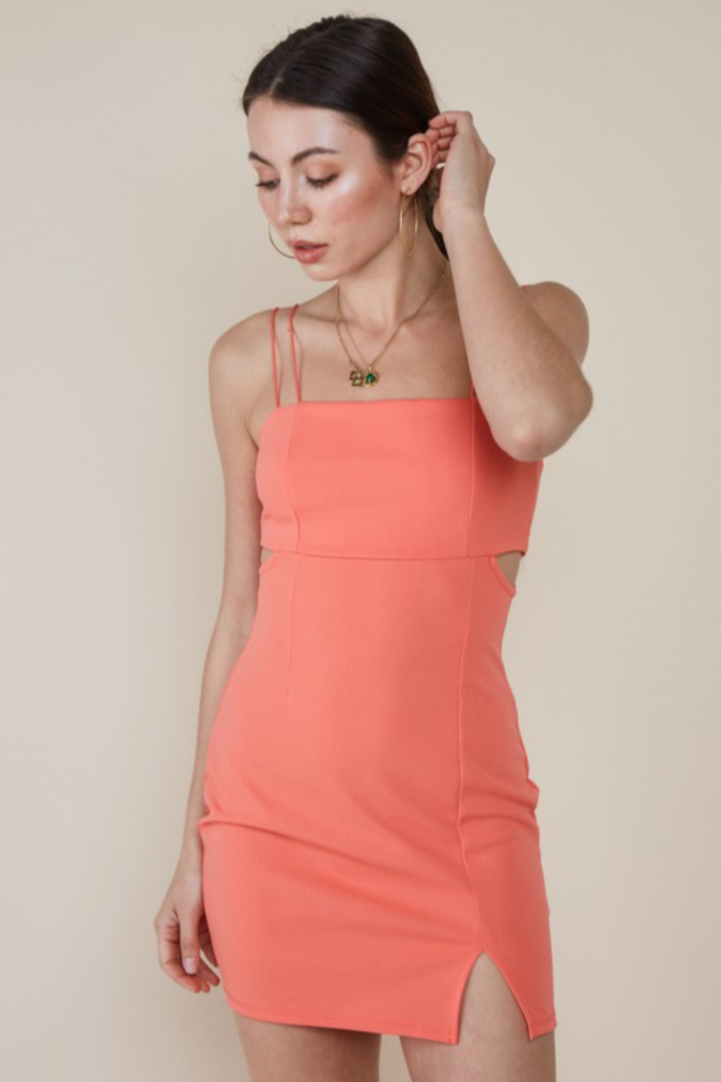 blue blush Peek-A-Boo Waist Bodycon Dress - Front Full Image