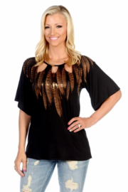 Liberty Wear Peekaboo Feathers Top - Front cropped