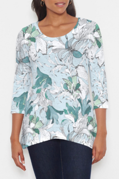 Whimsy Rose Pen and Ink Lily Seafoam Katherine Hi-Lo Thermal Tunic - Product List Image