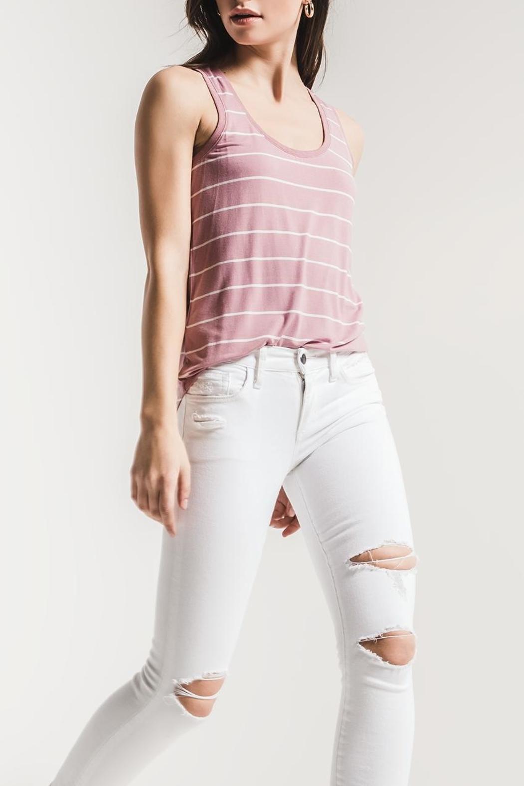 z supply Pencil Striped Tank - Back Cropped Image