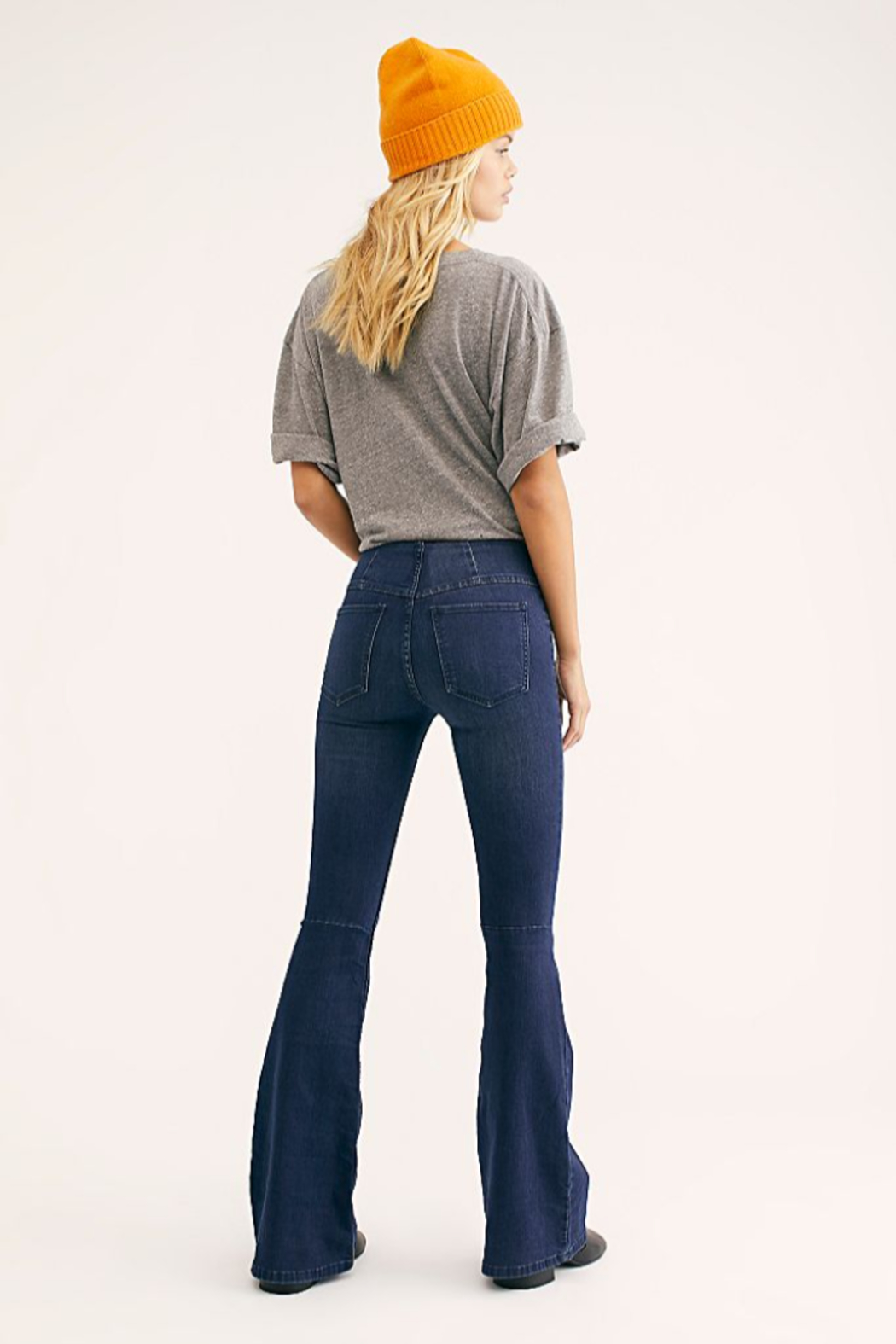 Free People Penny Pull-On Flare Jeans - Front Full Image