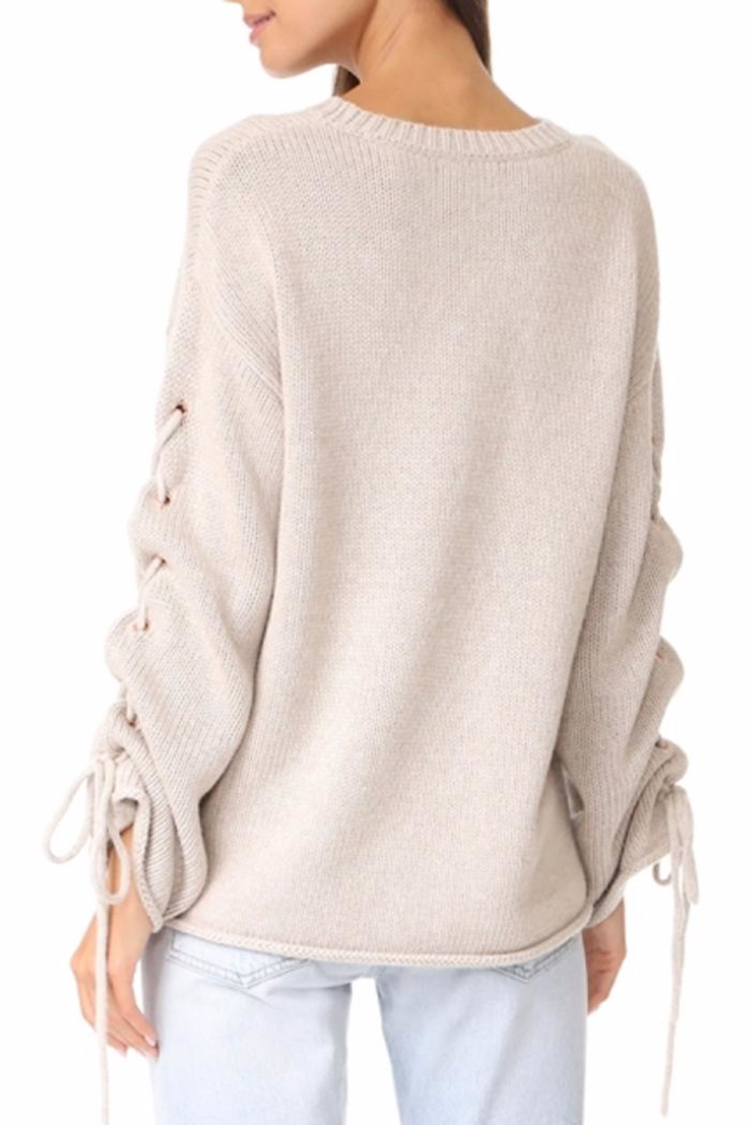 People Outfitter Ailbe Lace Up Sweater - Front Full Image