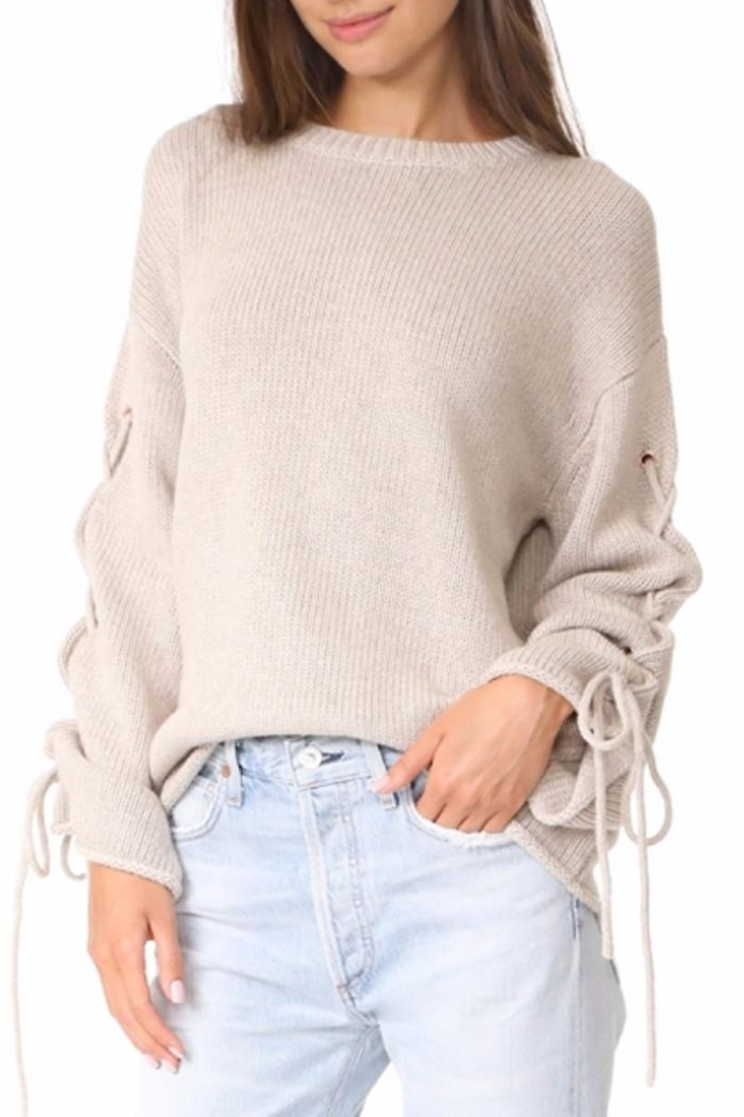 People Outfitter Ailbe Lace Up Sweater - Main Image
