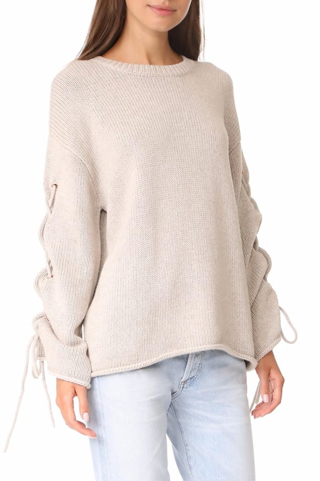 People Outfitter Ailbe Lace Up Sweater - Side Cropped Image