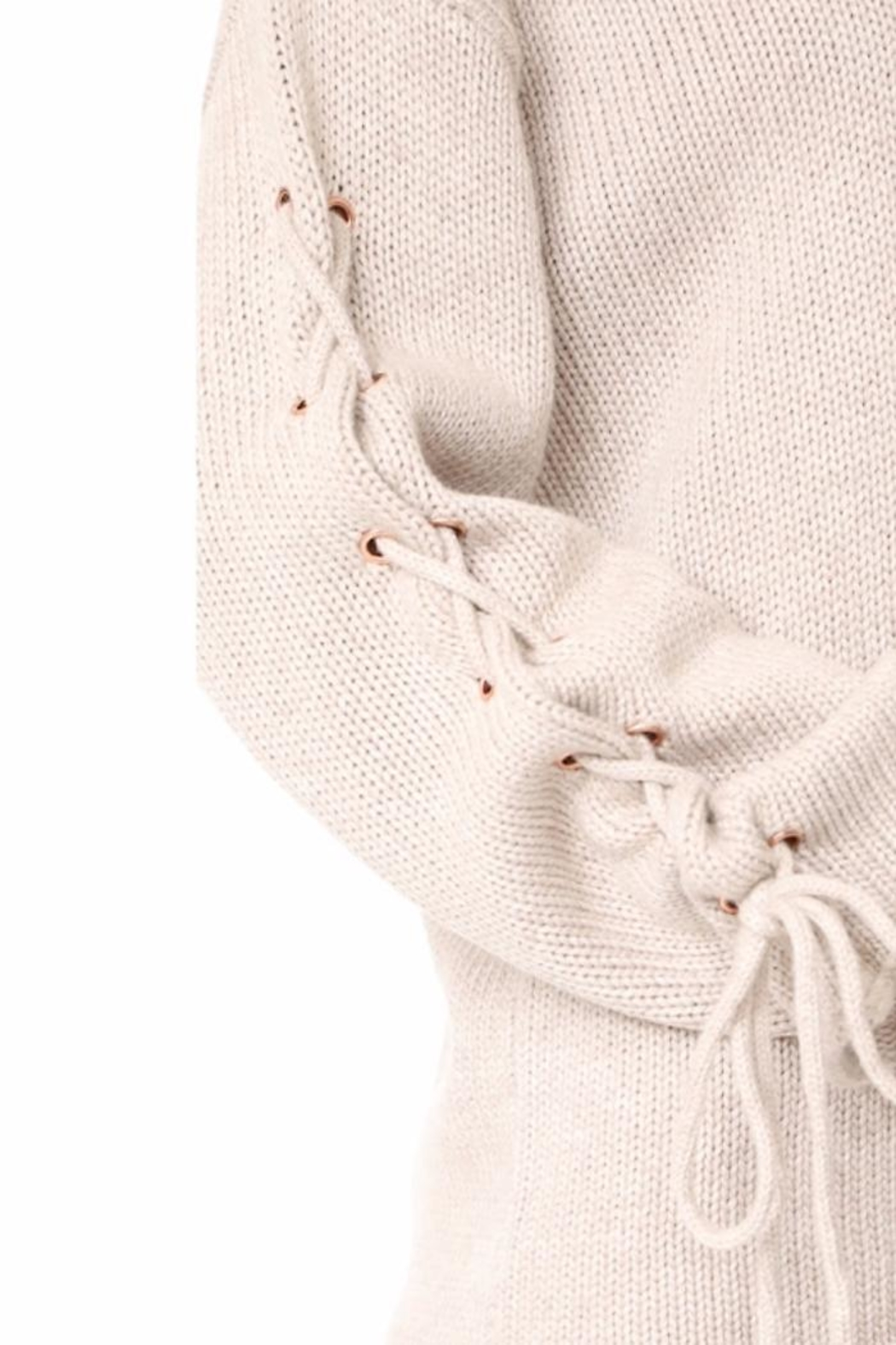 People Outfitter Ailbe Lace Up Sweater - Back Cropped Image