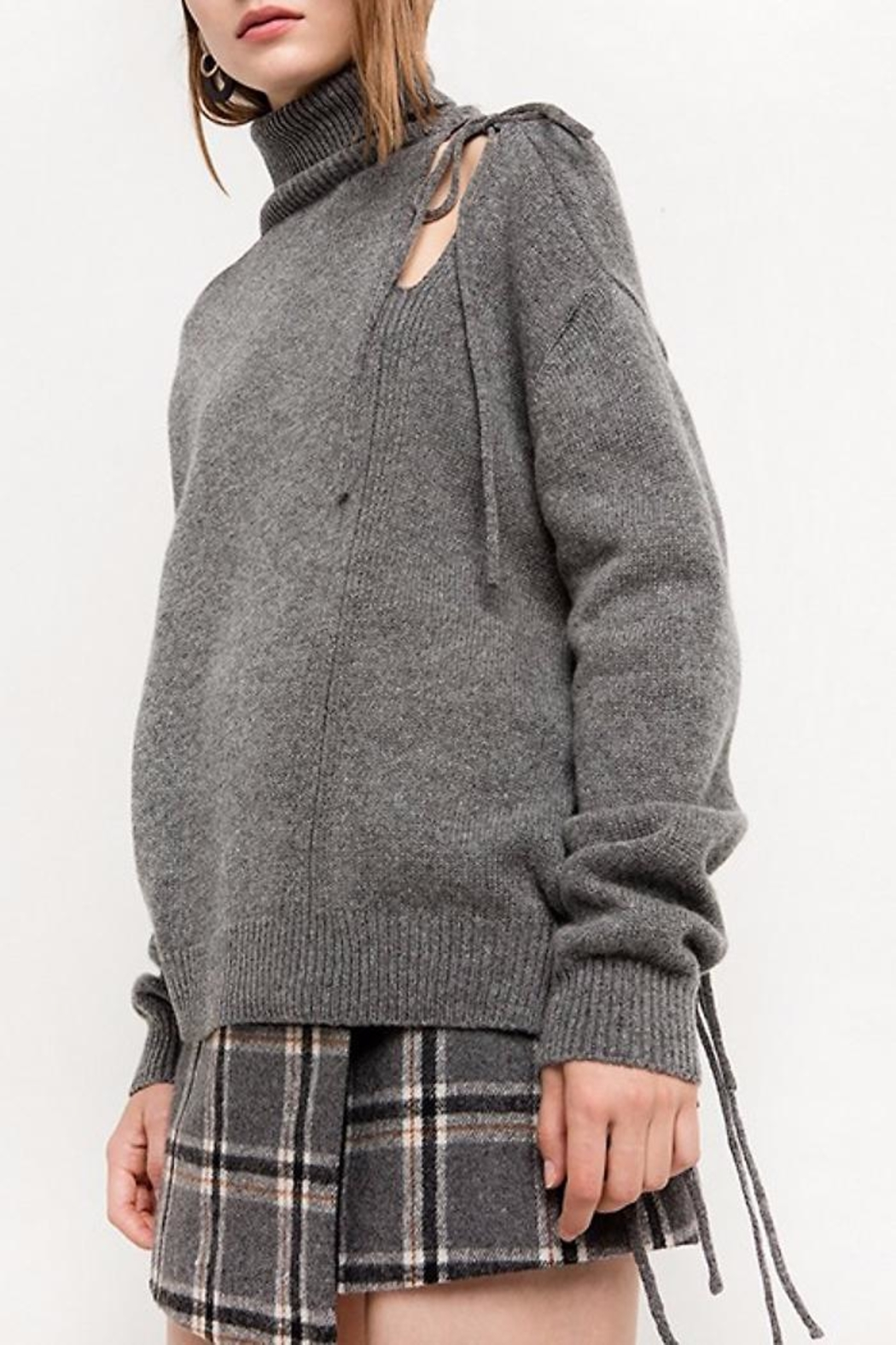 People Outfitter Alice Lace-Up Sweater - Front Full Image