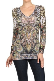 People Outfitter Leopard  Paisley Print Knit Sweater - Product Mini Image