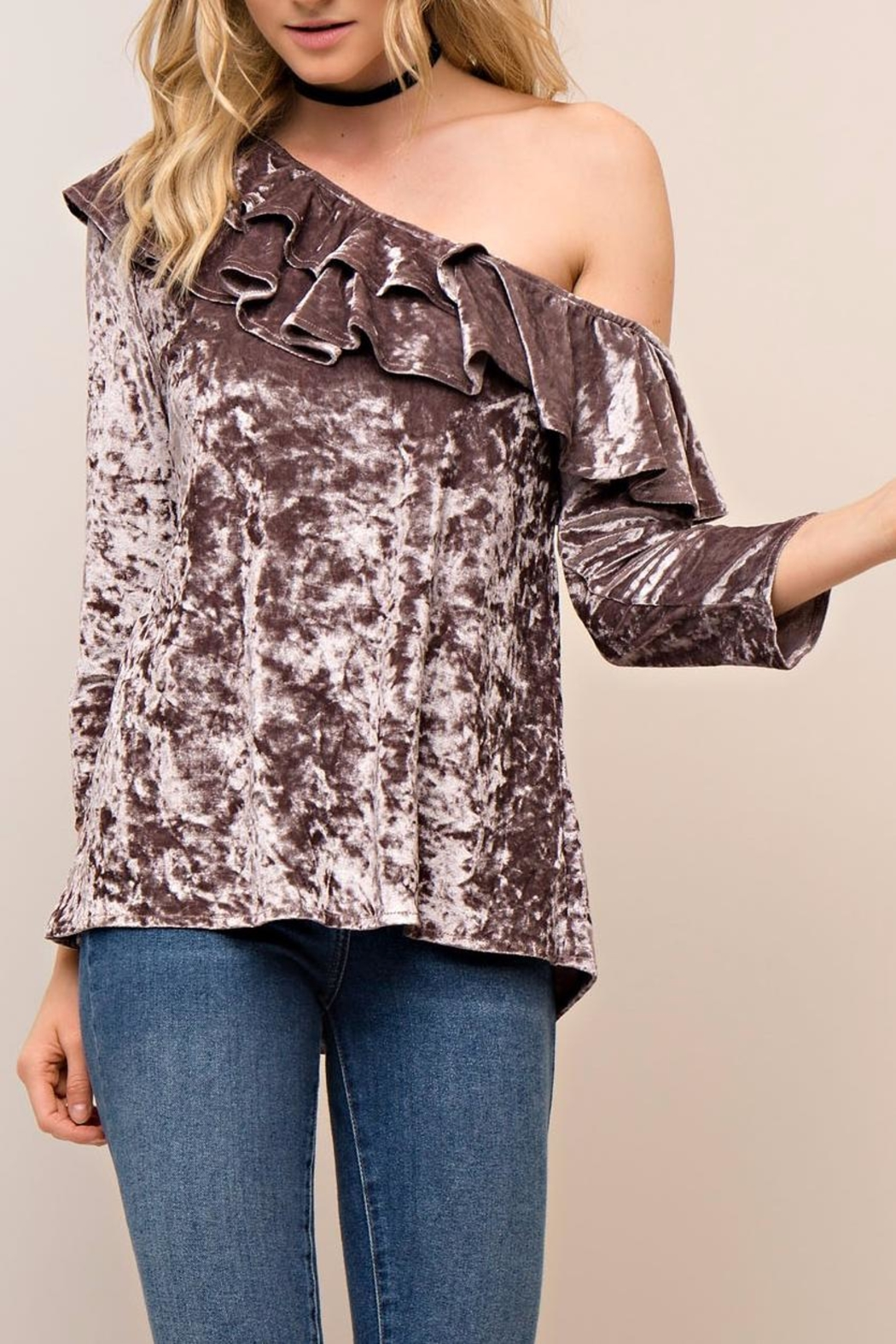 People Outfitter Aristide Velvet Top - Side Cropped Image