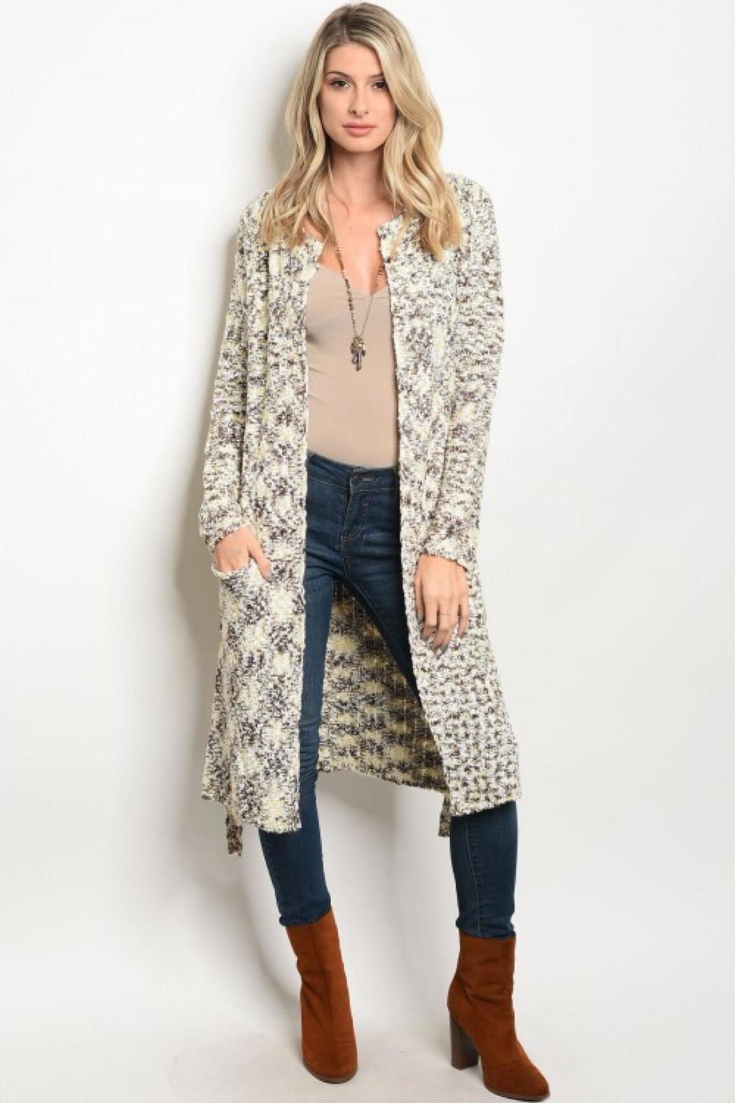 People Outfitter Beige Chunky Knit  Belted Cardigan - Main Image