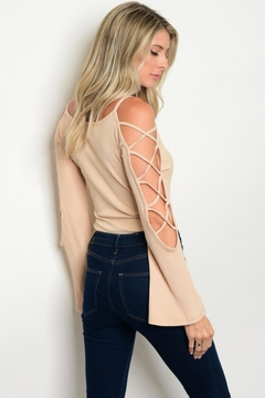 People Outfitter Beige Crisscross Bell Sleeve Bodysuit - Product List Image