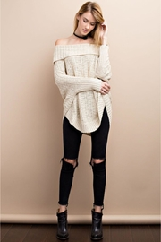 People Outfitter Beige Off Shoulder Sweater - Product Mini Image