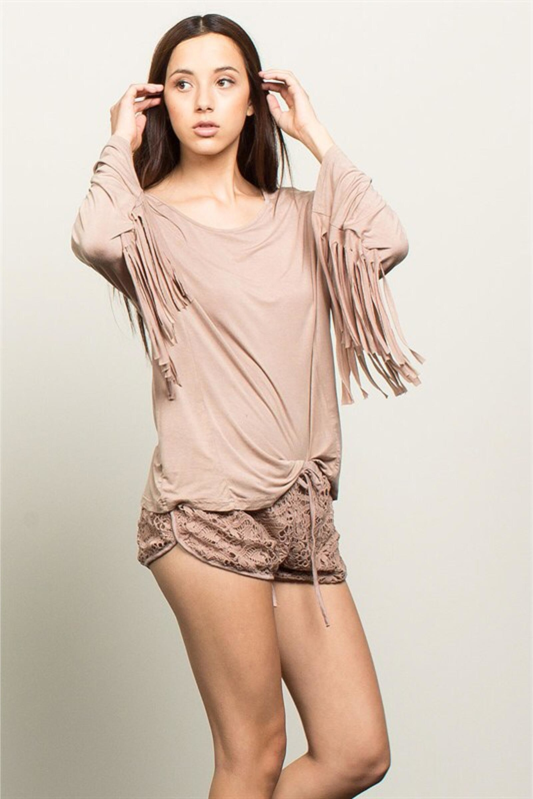 People Outfitter Beige Stonewashed Fringe Top - Side Cropped Image